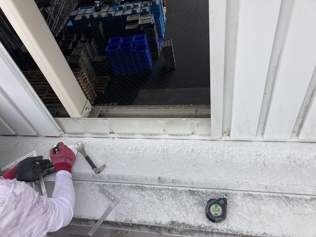 倉敷市北畝で工場パラペット部からの雨漏り補修です
